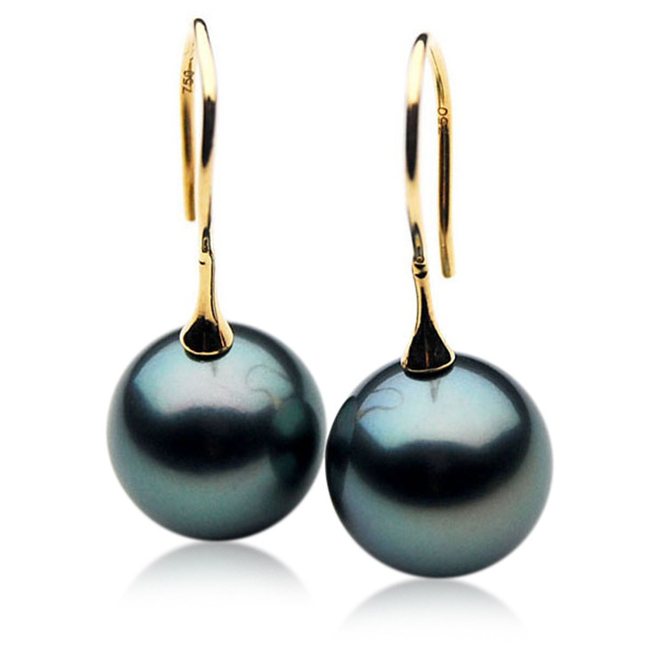 TE078 (AAA 13mm Tahitian Black Pearl Earrings In 18k Gold )