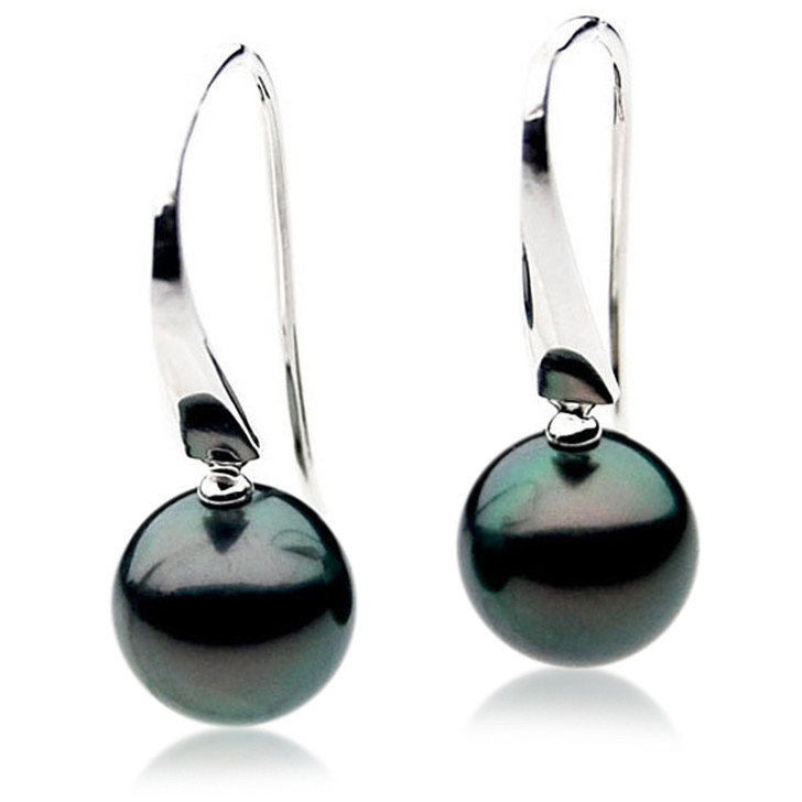 TE079 (AAA 13mm Tahitian Black Pearl Earrings In 18k White Gold )