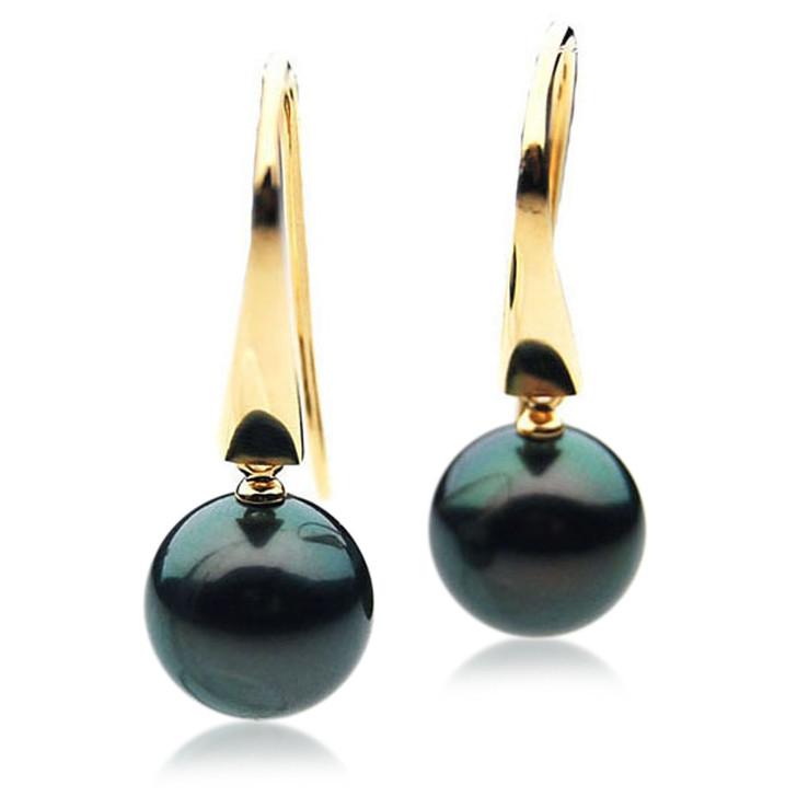 TE080 (AAA 13mm Tahitian Black Pearl Earrings In 18k Gold )