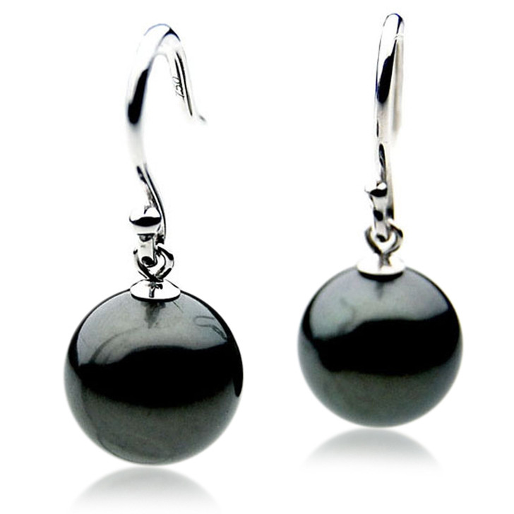TE081 (AAA 13mm Tahitian Black Pearl Earrings In 18k White Gold )