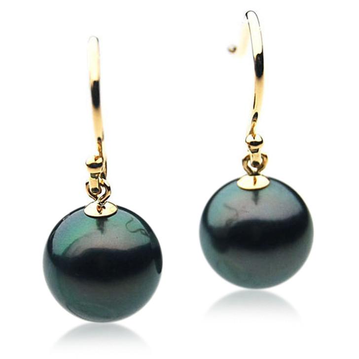 TE082 (AAA 13mm Tahitian Black Pearl Earrings In 18k Gold )