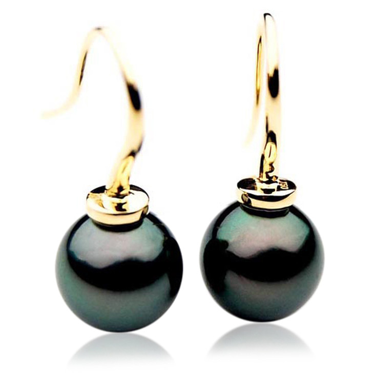TE084 (AAA 13mm Tahitian Black Pearl Earrings In 18k Gold )