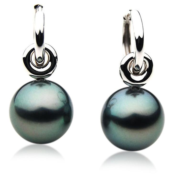 TE085 (AAA 13mm Tahitian Black Pearl Earrings In 18k White Gold )