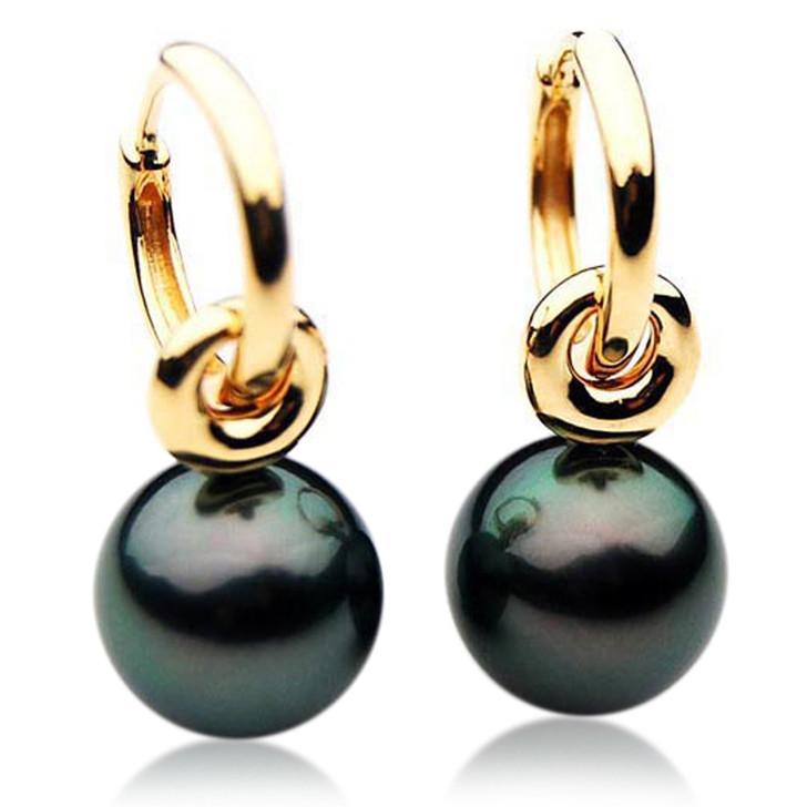 TE086 (AAA 13mm Tahitian Black Pearl Earrings  In 18k Rose Gold )