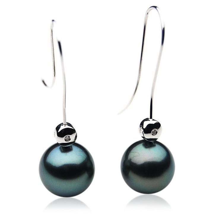 TE091 (AAA 13mm Tahitian Black Pearl Earrings Diamonds 18k White Gold )