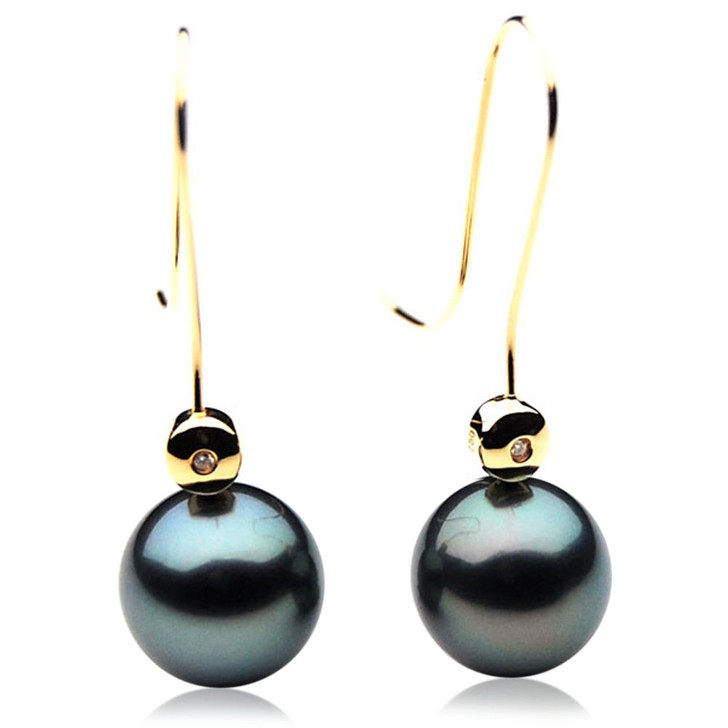 TE092 (AAA 13mm Tahitian Black Pearl Diamond Earrings 18k Gold )