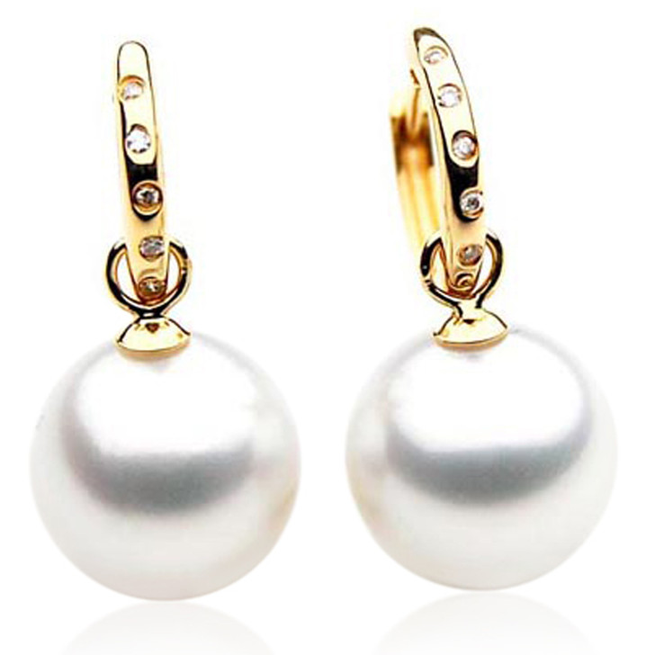 SE022  (AAA 11mm Australian South Sea Pearl Earrings Diamonds 18k Gold)
