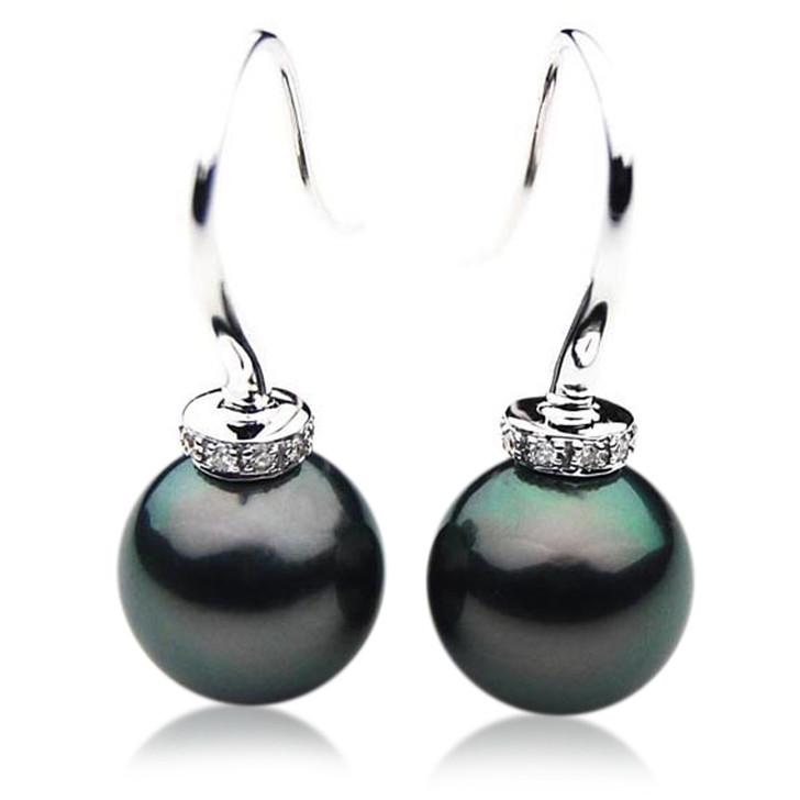 TE093 (AAA 13mm Tahitian Black Pearl Diamond Earrings 18k White Gold )