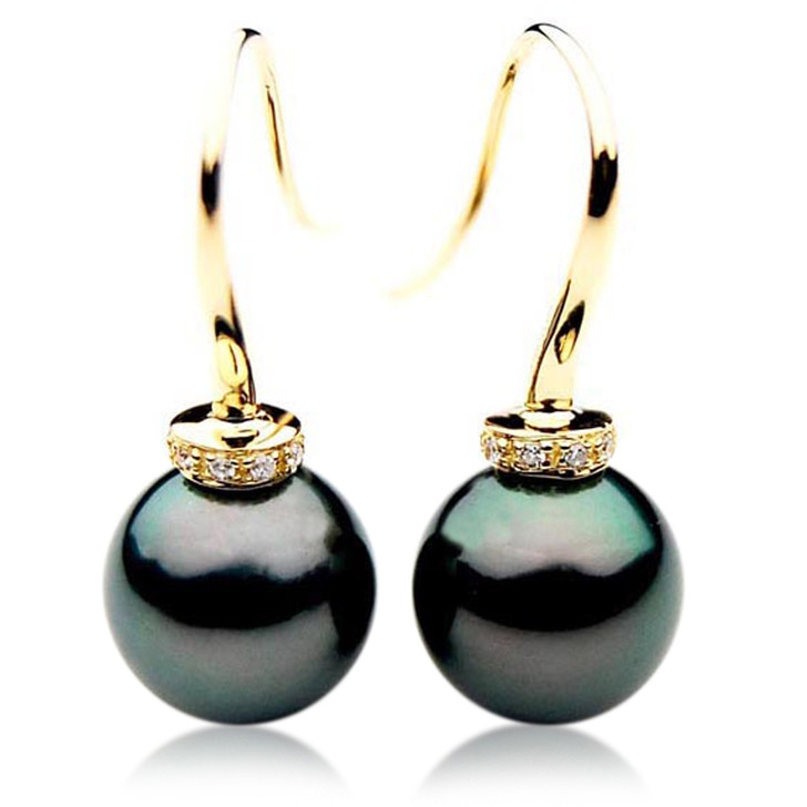 TE094 (AAA 13mm Tahitian Black Pearl Diamond Earrings In 18k Gold )