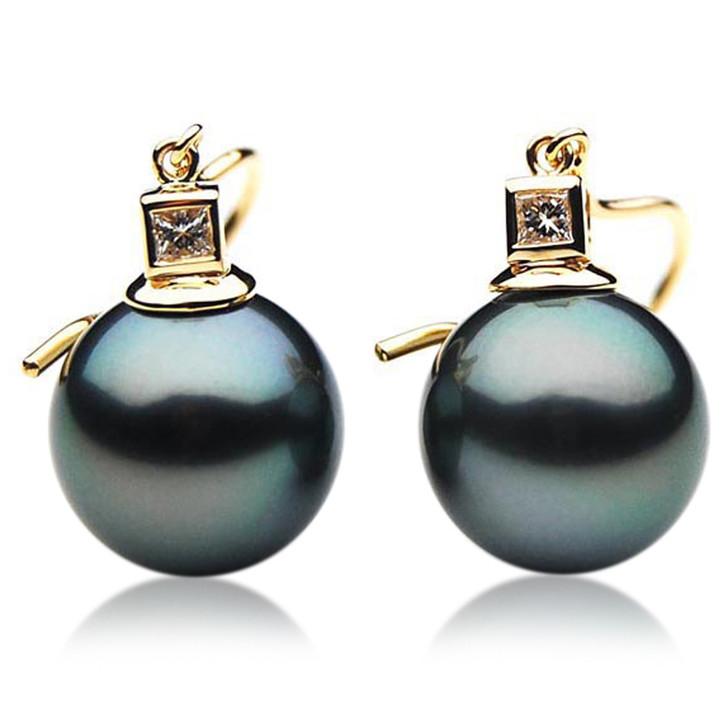 TE096 (AAA 13mm Tahitian Black Pearl Diamond Earrings18k Gold )