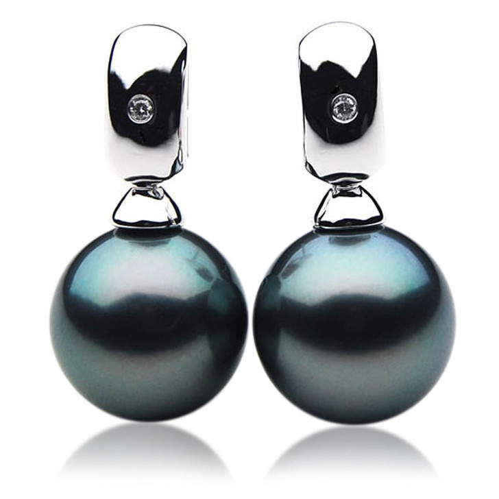 TE101 (AAA 13mm Tahitian Black Pearl Earrings Diamonds  18k White Gold )