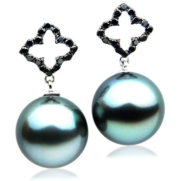 TE103 (AAA 13mm Tahitian Black Pearls and Diamonds In 18k White Gold )