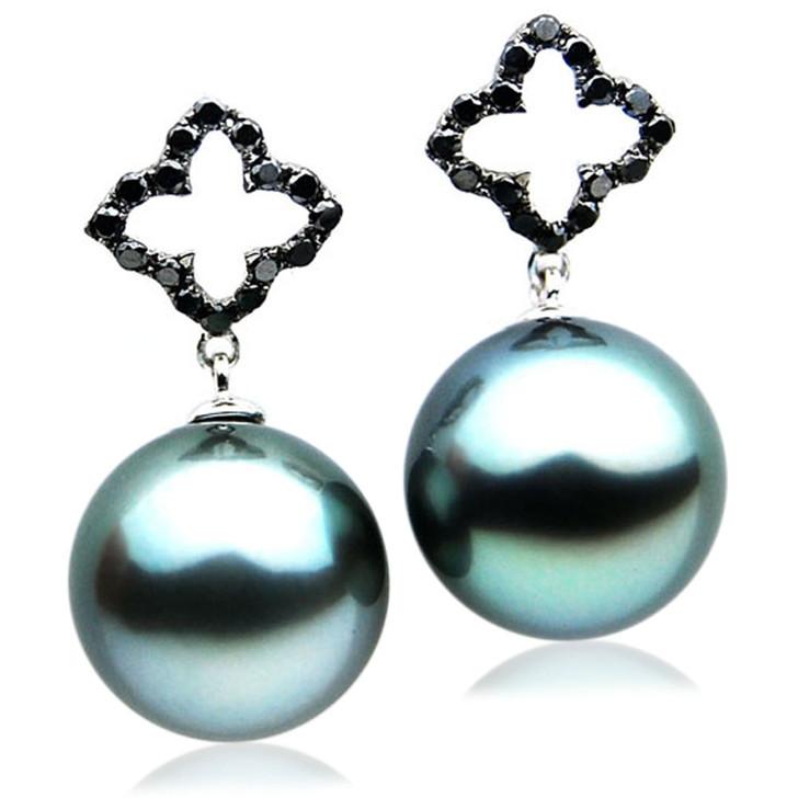 TE103 (AAA 13mm Tahitian Black Pearls and Diamonds In 18k White Gold )