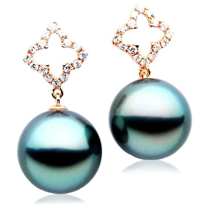 TE104 (AAA 13mm Tahitian Black Pearl Diamond Earrings 18k Gold )