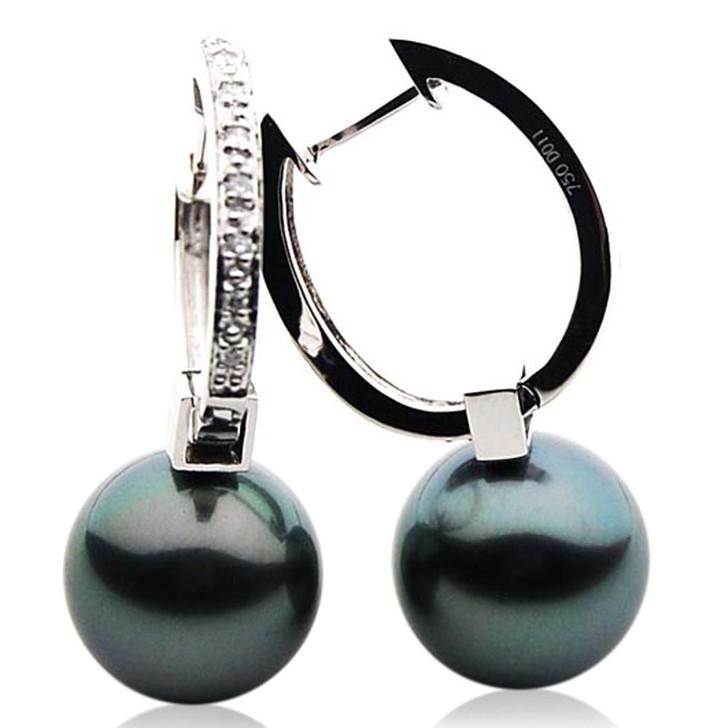 TE105 (AAA 13mm Tahitian Black Pearl Earrings Diamonds 18k White Gold )