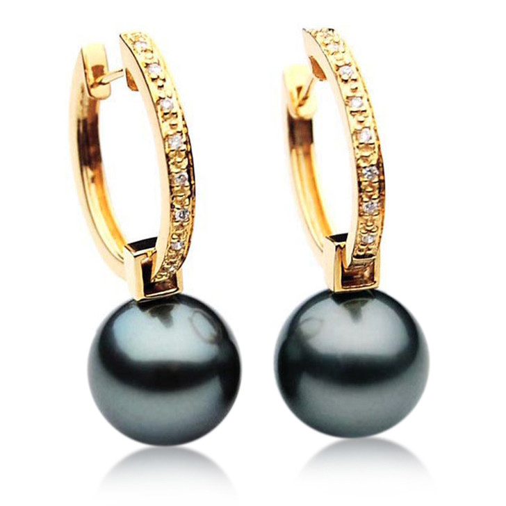 TE106 (AAA 13mm Tahitian Black Pearl Diamond Earrings 18k Gold )