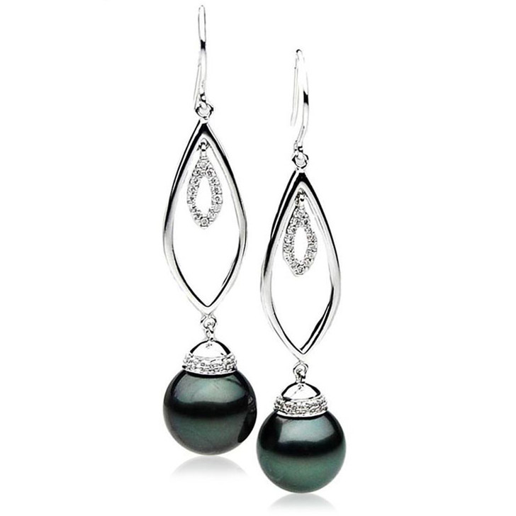 TE107 (AAA 13mm Tahitian Black Pearl Diamond Earrings 18k White Gold )