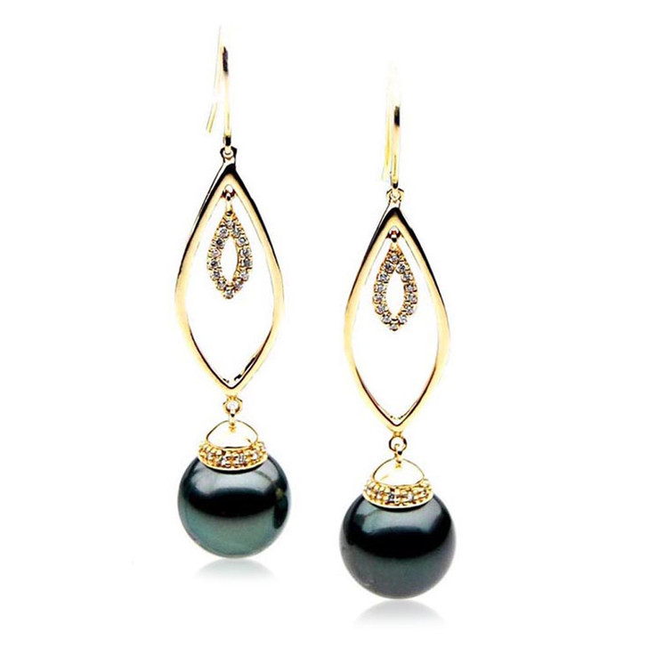TE108 (AAA 13mm Tahitian Black Pearl Diamond Earrings 18k Gold )