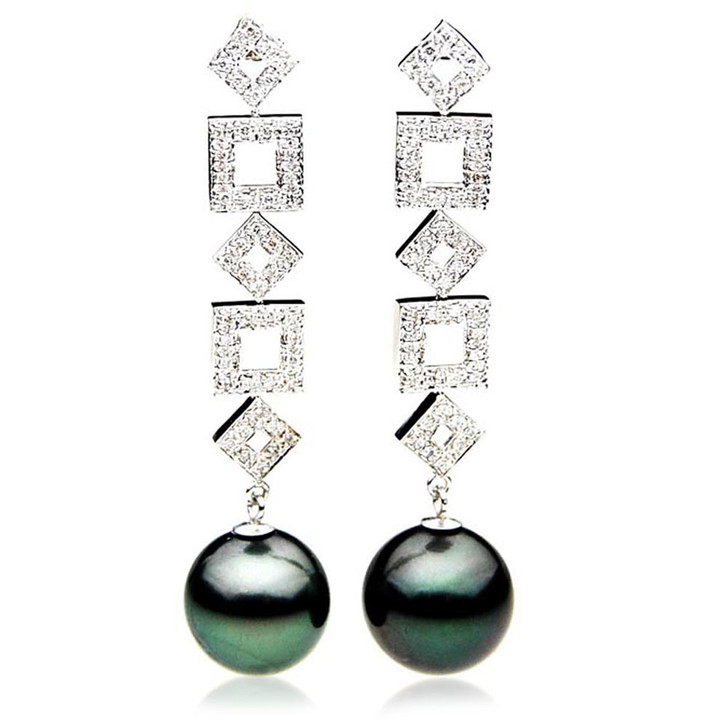 TE109 (AAA 13mm Tahitian Black Pearl  Diamond 18k White Gold )