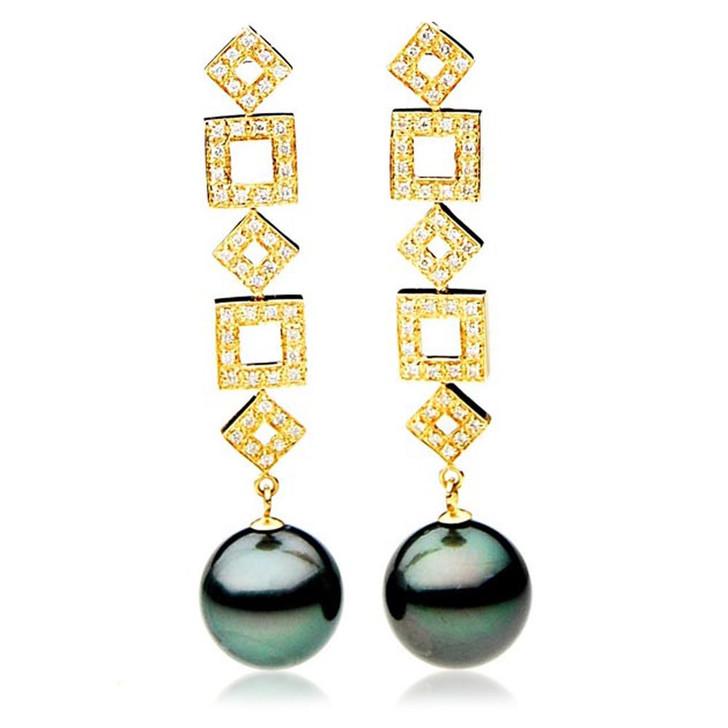 TE110 (AAA 13mm Tahitian Black Pearl Diamond Earrings 18k Gold )