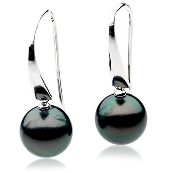 TE115 (AAA 14mm Tahitian Black Pearl Earrings In 18k White Gold )