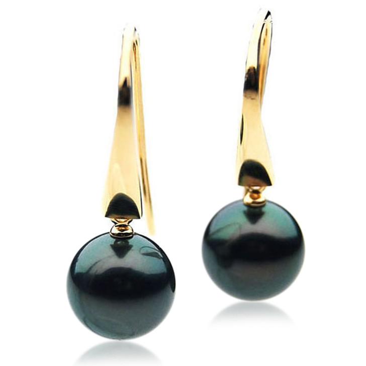 TE116 (AAA 14mm Tahitian Black Pearl Earrings In 18k Gold )