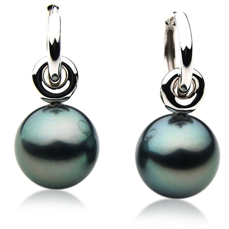 TE117 (AAA 14mm Tahitian Black Pearl Earrings In 18k White Gold )