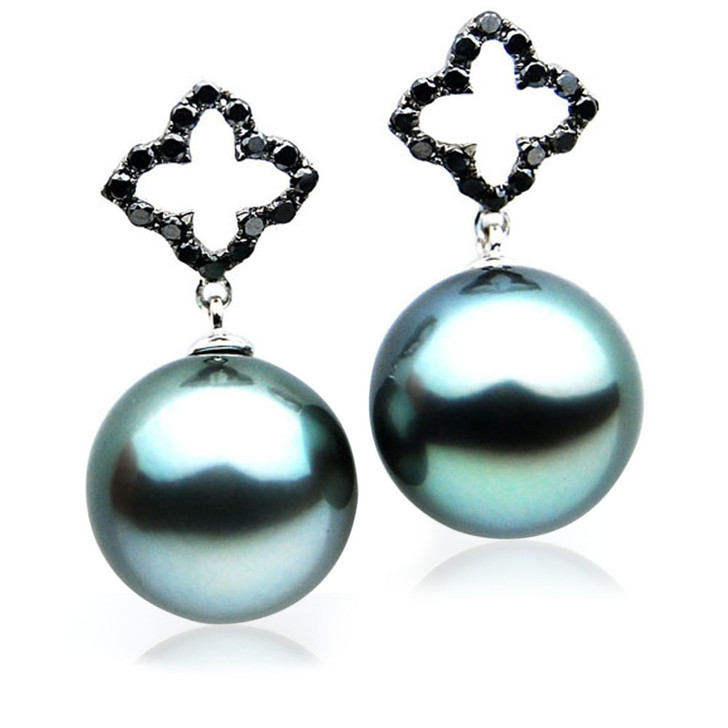 TE119 (AAA 14mm Tahitian Black Pearl Earrings Diamonds 18k White Gold )