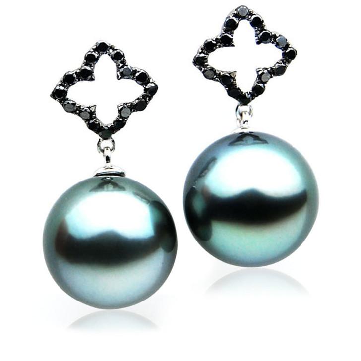 TE119 (AAA 14mm Tahitian Black Pearl Earrings Diamonds 18k White Gold )