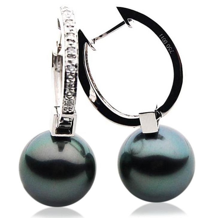 TE121 (AAA 14mm Tahitian Black Pearl Diamond Earrings 18k White Gold )