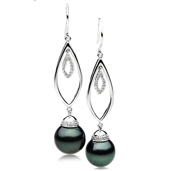 TE123 (AAA 14mm Tahitian Black Pearl Earrings Diamonds 18k White Gold )