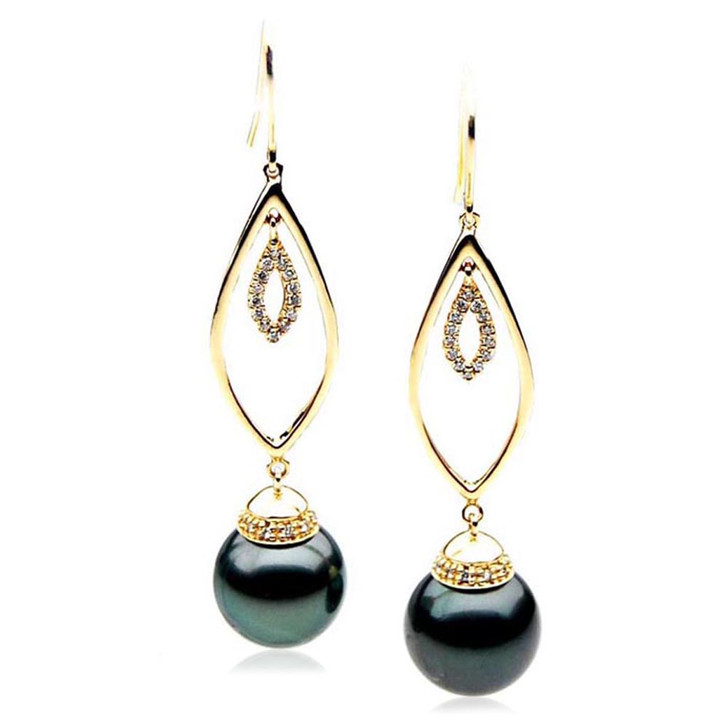 TE124 (AAA 14mm Tahitian Black Pearl Diamond Earrings 18k Gold )