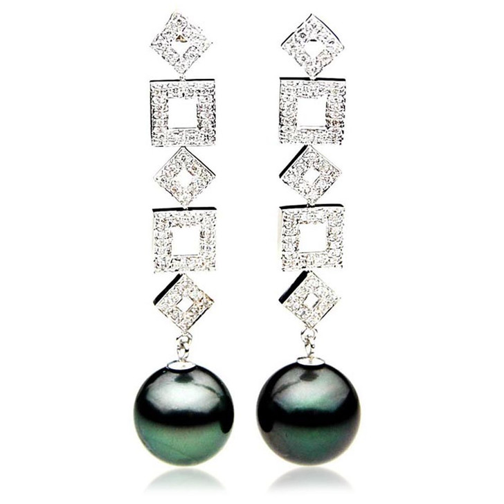 TE125 (AAA 14mm Tahitian Black Pearl Diamond Earrings 18k White Gold )