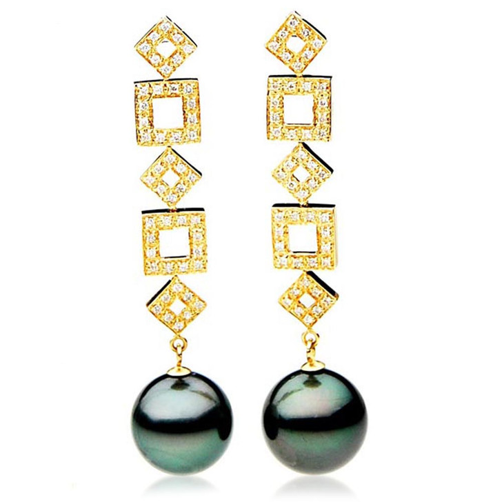 TE126 (AAA 14mm Tahitian Black Pearl Earrings Diamonds 18k Gold )
