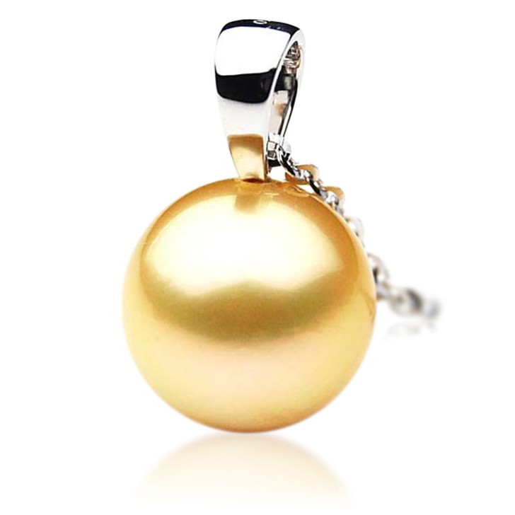 GP001 (AAA 11mm Australian Golden South Sea Pearl Pendant In Gold)