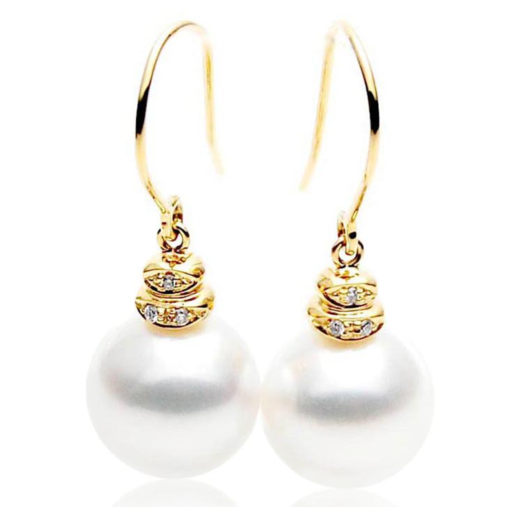 SE026  (AAA 11mm Australian South Sea Pearl Earrings Diamonds 18k Gold)