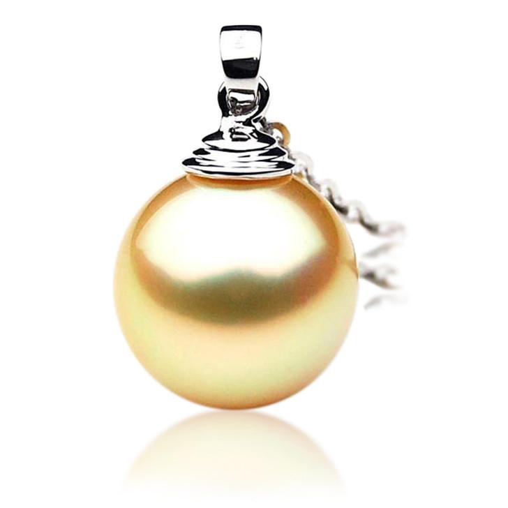 GP007 (AAA 11mm Australian Golden South Sea Pearl Pendant In 18K Gold)