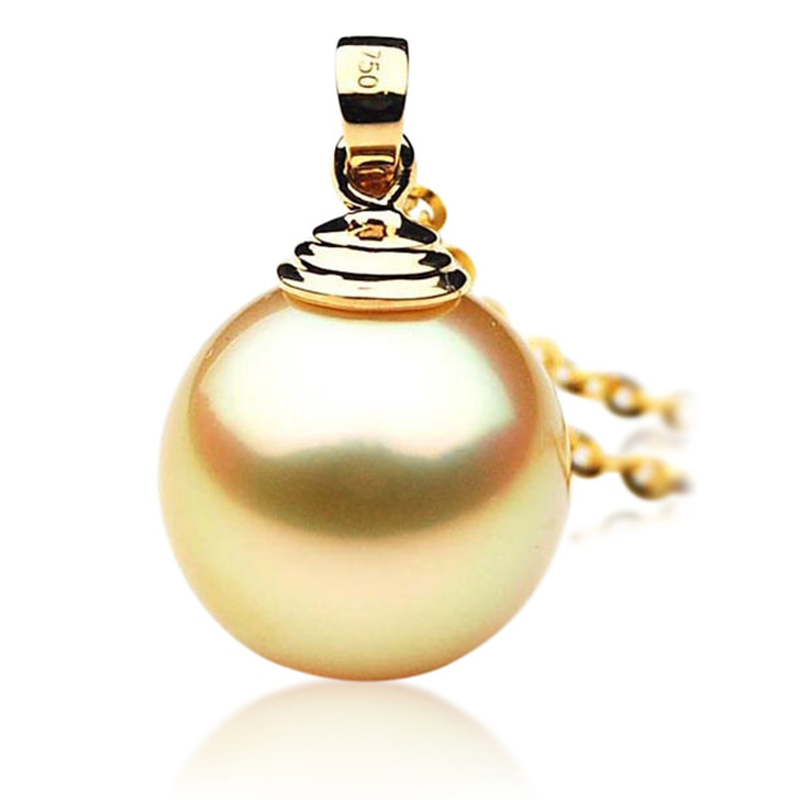 GP008 (AAA 11mm Australian Golden South Sea Pearl Pendant In 18K Gold)