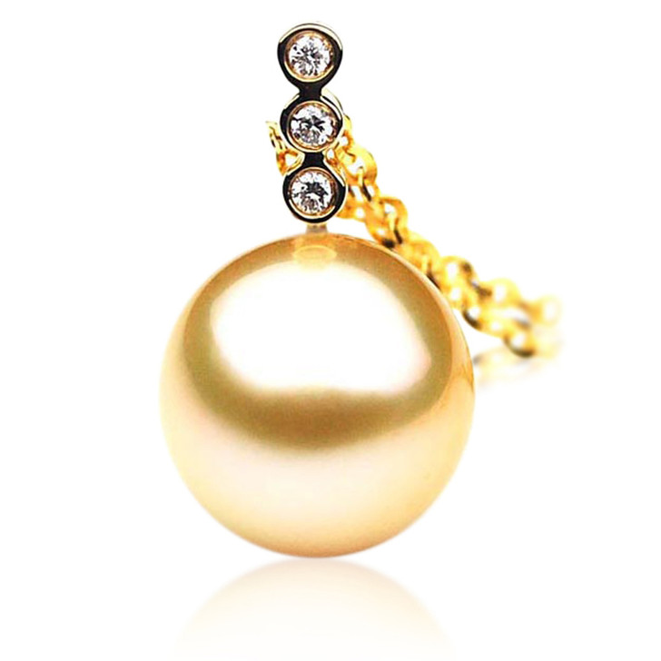 GP012 (AAA 11mm Australian Golden South Sea Pearl Pendant and diamonds )
