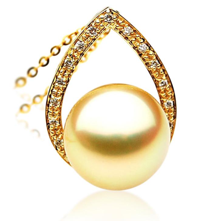 GP016 (AAA 11mm Australian Golden South Sea Pearl Pendant and diamonds )