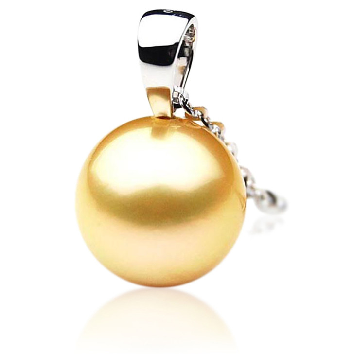 GP017 (AAA 12mm Australian Golden South Sea Pearl Pendant In 18K Gold)
