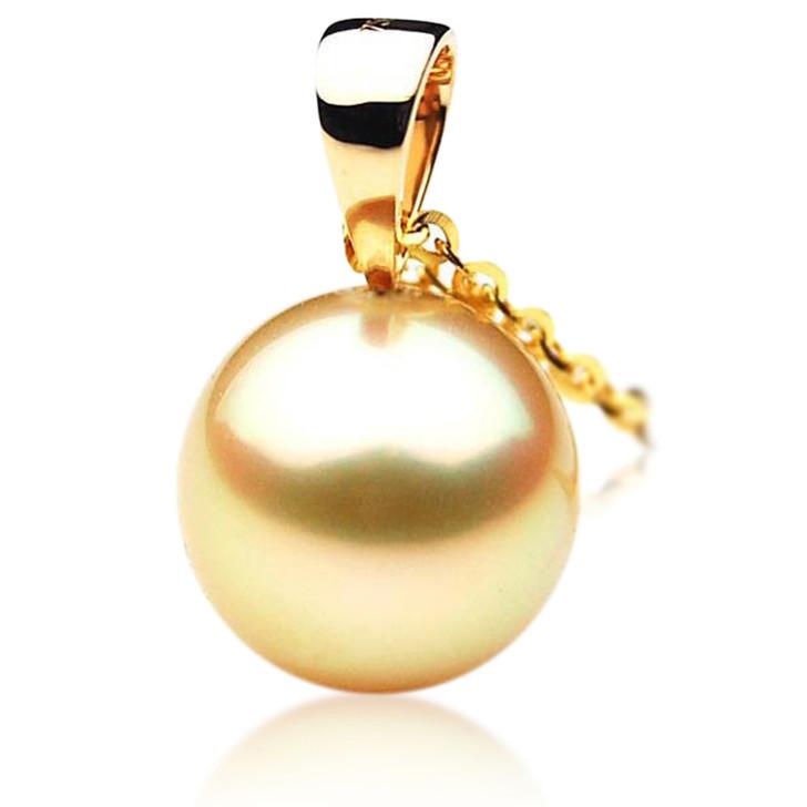 GP018 (AAA 12mm Australian Golden South Sea Pearl Pendant In Gold)