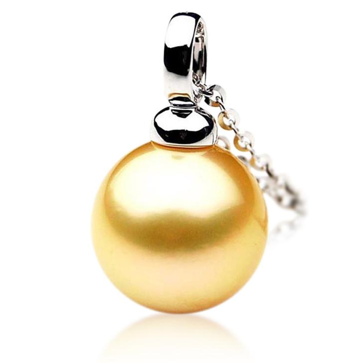 GP019 (AAA 12mm Australian Golden South Sea Pearl Pendant In 18K Gold)