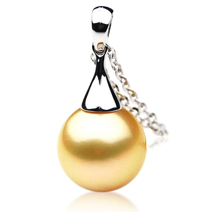 GP021 (AAA 12mm Australian Golden South Sea Pearl Pendant In Gold)