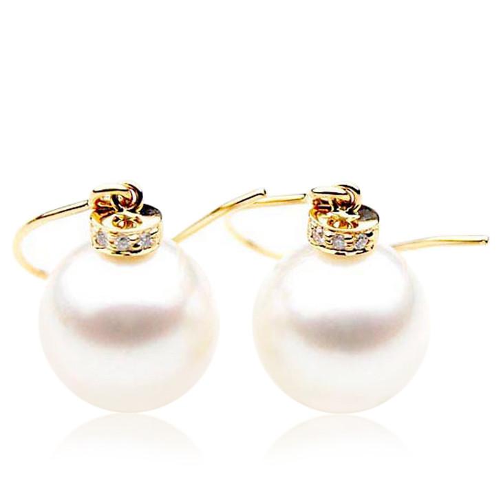 SE028   (AAA 11mm Australian South Sea Pearl Earrings Diamonds 18k Gold)