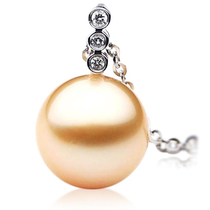 GP027 (AAA 12mm Australian Golden South Sea Pearl Pendant and Diamonds )