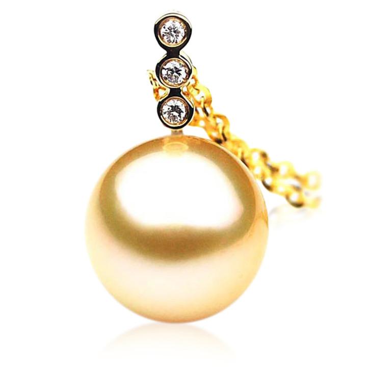 GP028 (AAA 12mm Australian Golden South Sea Pearl Pendant and Diamonds)