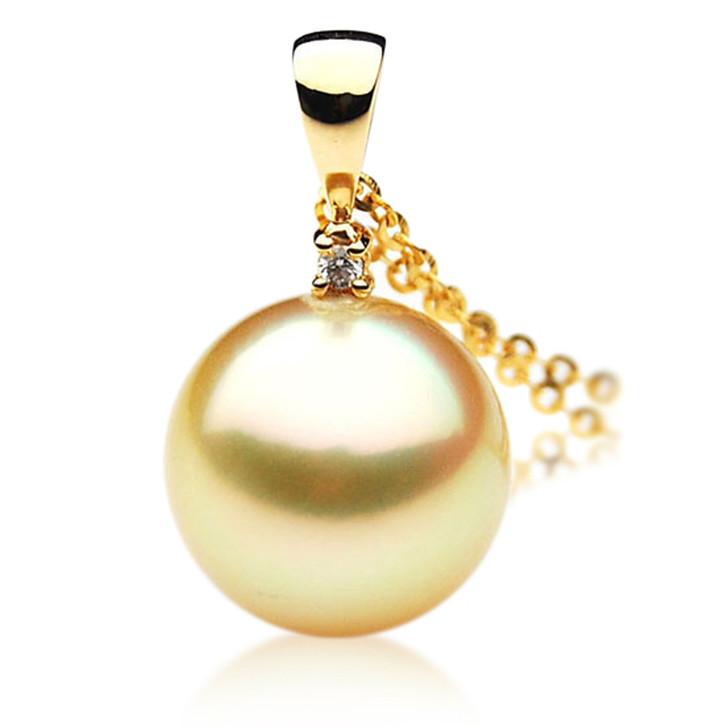 GP032 (AAA 12mm Australian Golden South Sea Pearl Pendant and Diamonds)