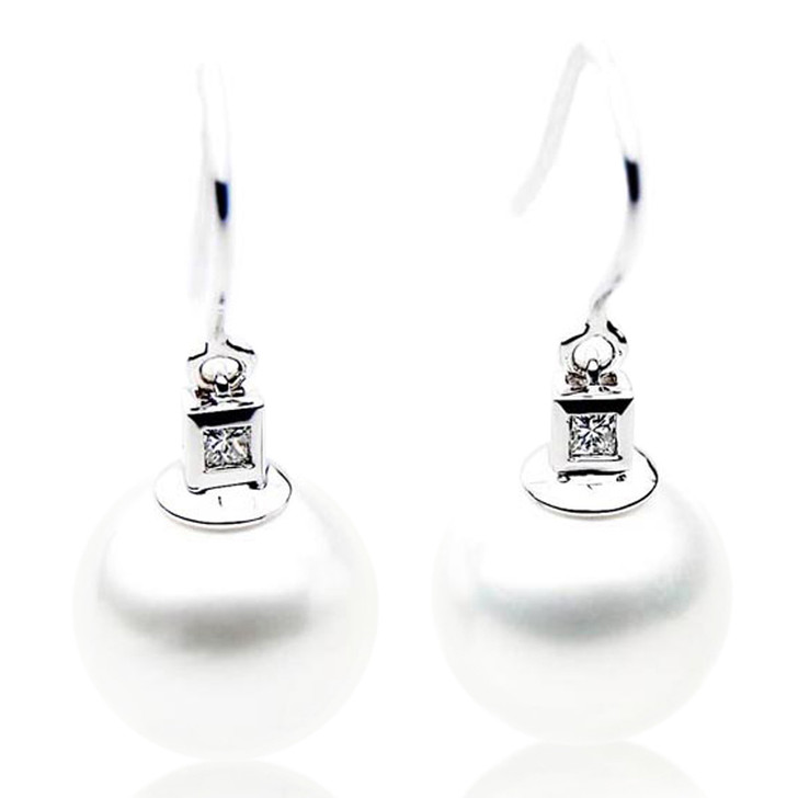SE029  (AAA 11mm Australian South Sea Pearl Earrings Diamonds 18k White Gold)