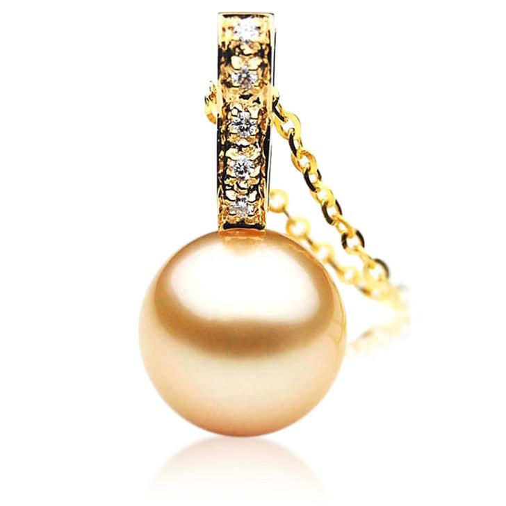 GP036 (AAA 12mm Australian Golden South Sea Pearl Pendant and Diamonds )